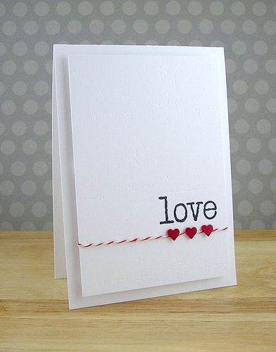white layered love card