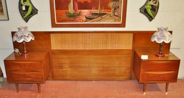 Mid-Century Teak Double Sized Head Board, attached nightstands with two drawers each. Contact seller for price details. (Lindsay, ON, Craigslist)   http://toronto.en.craigslist.ca/tor/atd/4283122920.html
