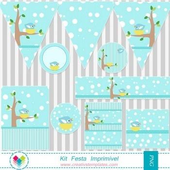 Kit festa imprimir - Passarinho mod:717 Printable party Cute Bird