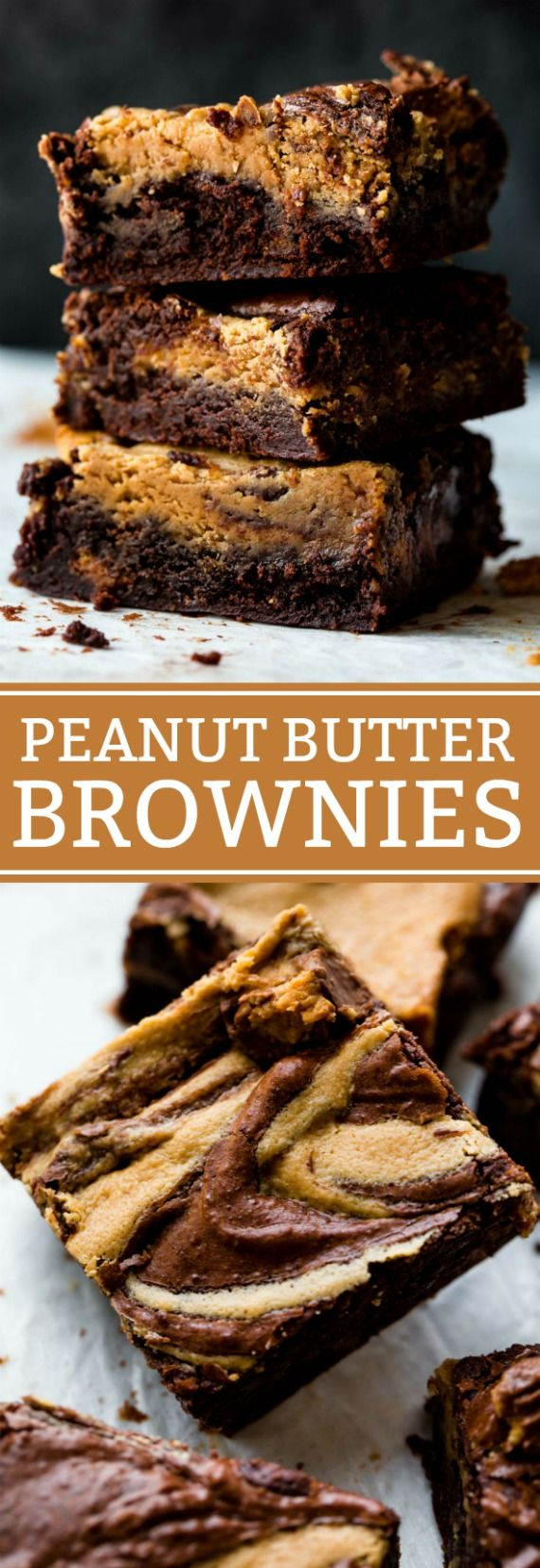 Guaranteed to be the best peanut butter swirl brownies you try! Moist, fudgy, rich, and decadent brownie recipe on sallysbakingaddiction.com