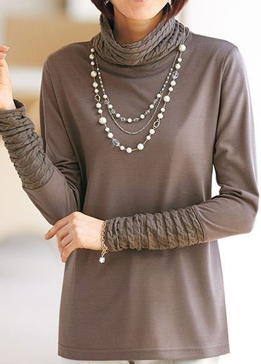 Coffee Long Sleeve High Neck T Shirt on sale only US$30.16 now, buy cheap Coffee Long Sleeve High Neck T Shirt at liligal.com