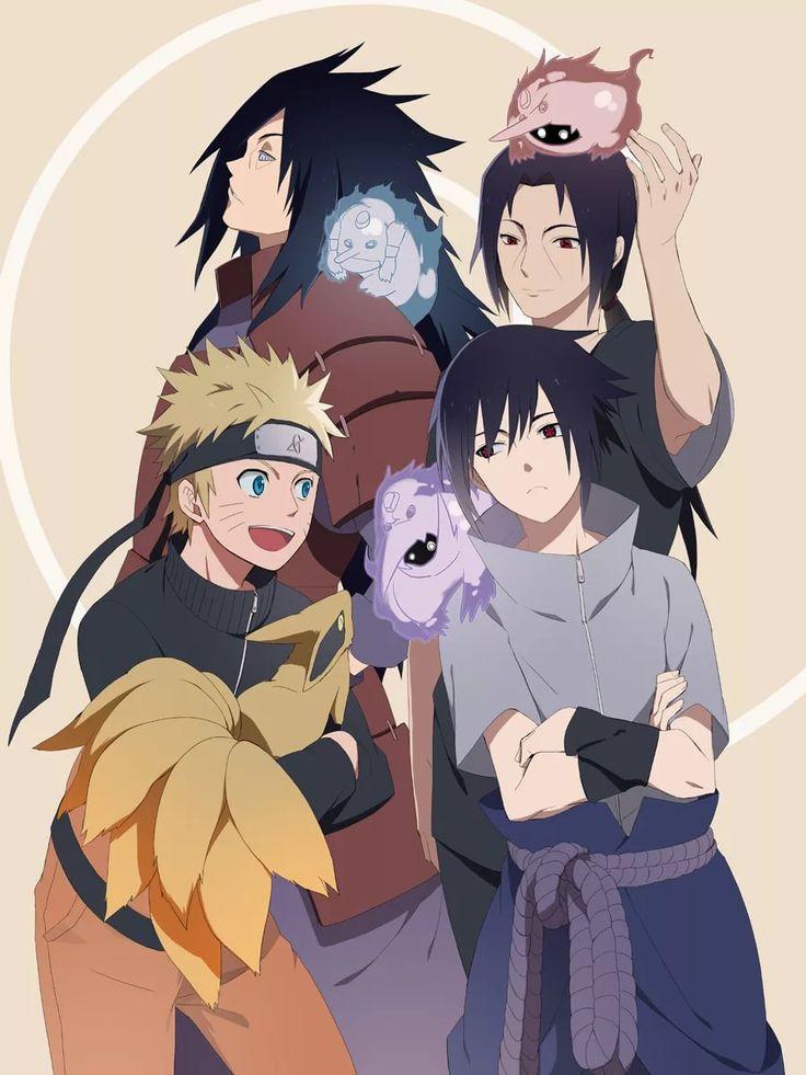 Uzumaki Naruto, Uchiha Sasuke, Uchiha Madara, Uchiha Itachi & Kurama & 3 Susanoo