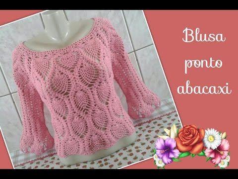 Versão canhotos:Blusa Ciganinha Aquamarine em crochê tam. P ( 3° parte) # Elisa Crochê - YouTube