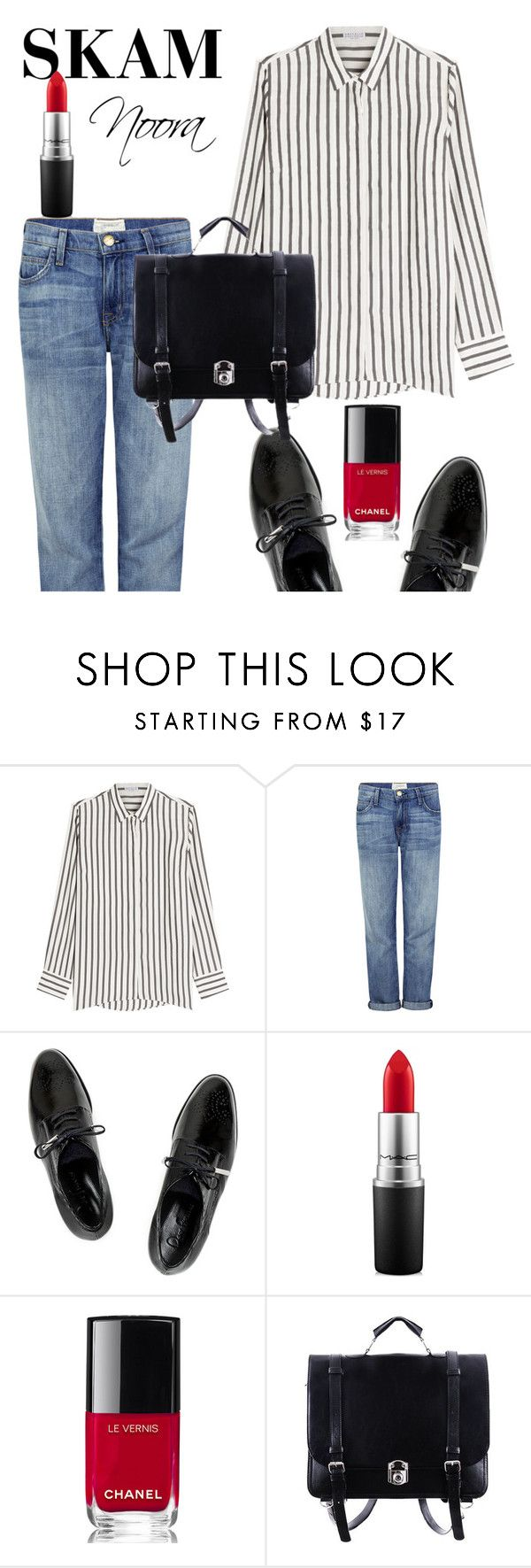 """""""Noora fra SKAM"""" by helene-saeth-fiska ❤ liked on Polyvore featuring Brunello Cucinelli, Current/Elliott, Dear Frances, MAC Cosmetics, Chanel, GetTheLook and airportstyle"""
