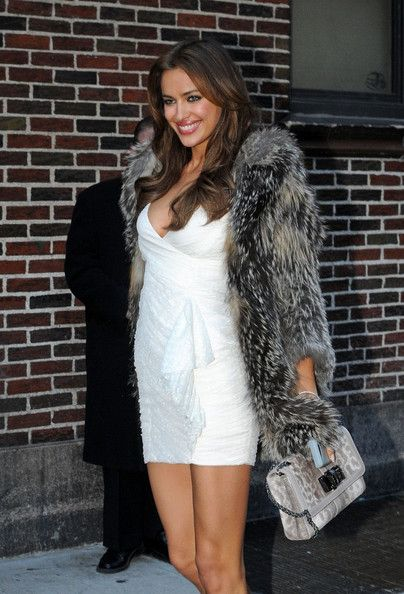 "Irina Shayk Photos Photos - Russian-born model Irina Shayk, who dates soccer superstar Cristiano Ronaldo, at the ""Late Show With David Letterman"" studios at the Ed Sullivan theatre in NYC. Irina is this year's Sports Illustrated Swimsuit Issue cover girl. - Stars Outside the Ed Sullivan Theater"