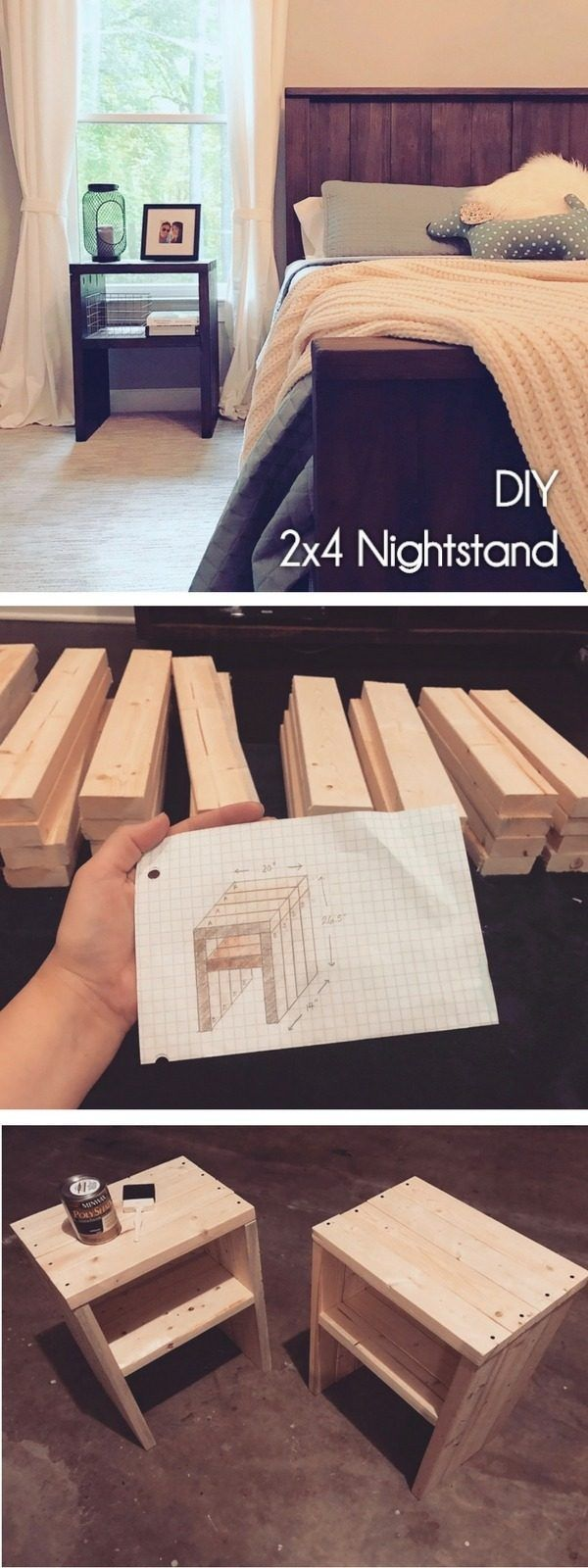 Check out how to make a #DIY #wooden nightstand from 2x4s #HomeDecorIdeas #BedroomDecor @istandarddesign