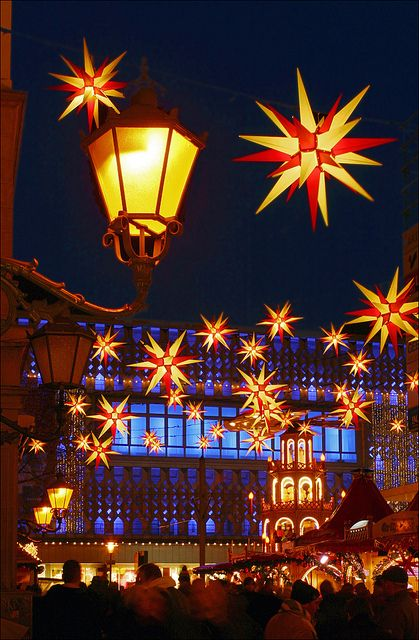 Weihnachts Sternen Himmel by Prinz Wilbert.  Moravian Star decoration at Magdeburg Christmas Market, Saxony-Anhalt, Germany