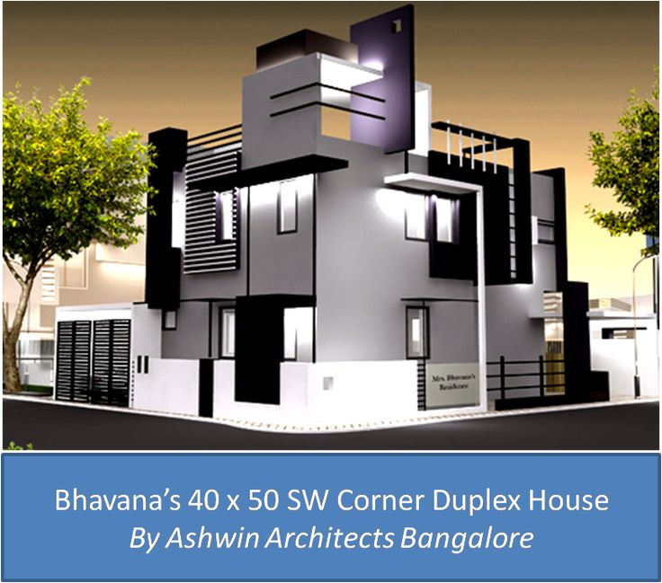 Front elevation design for bhavana s 40 x 50 sw corner Indian duplex house plans with photos