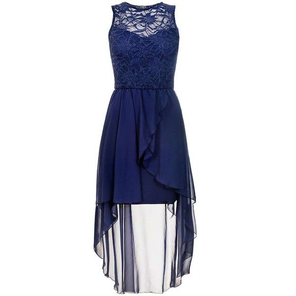 Dorothy Perkins *Quiz Navy Lace Dip Hem Dress ($55) ❤ liked on Polyvore featuring dresses, navy, hi low lace dress, blue hi low dress, navy lace dress, blue high low dress and navy dress
