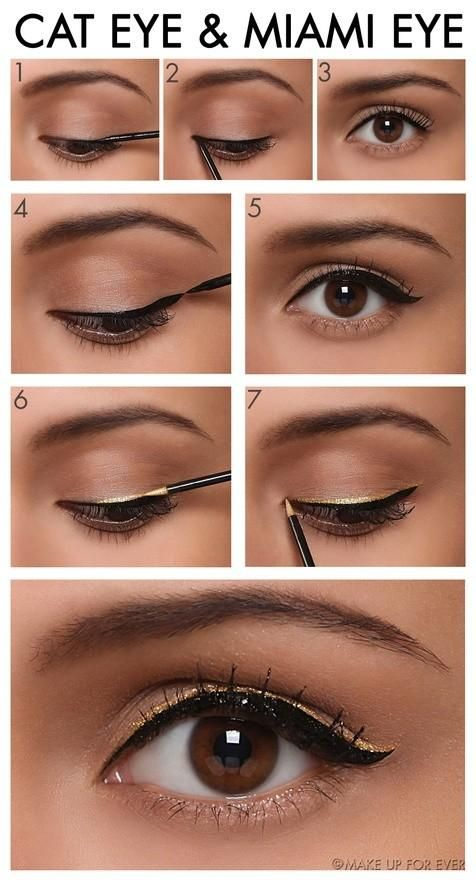 CUTE AND SIMPLE!   TUTORIAL – Miami Cat Eye Makeup #makeup #eyeshadow #beauty
