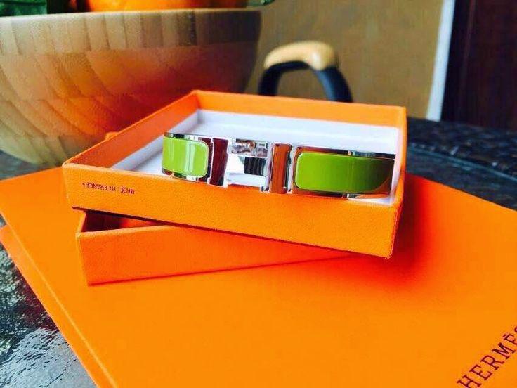 Love-Bags : Hermes H Clic Enamel Bracelet Phw Green