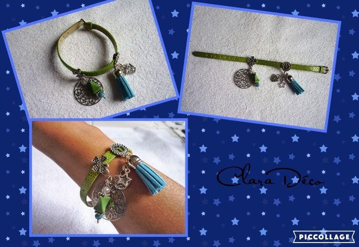 Bracelet en simili cuir peau de serpent vert et ses breloques + pochette cadeau en organza blanc (réf 9TIC/Br)