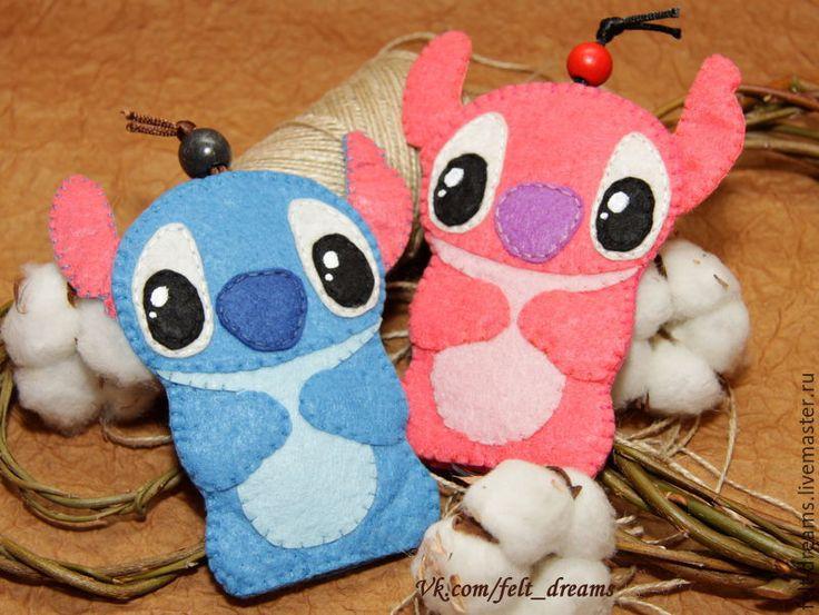 Купить Ключница из фетра Стич - комбинированный, голубой, голубой цвет, розовый, розовый цвет, ключница