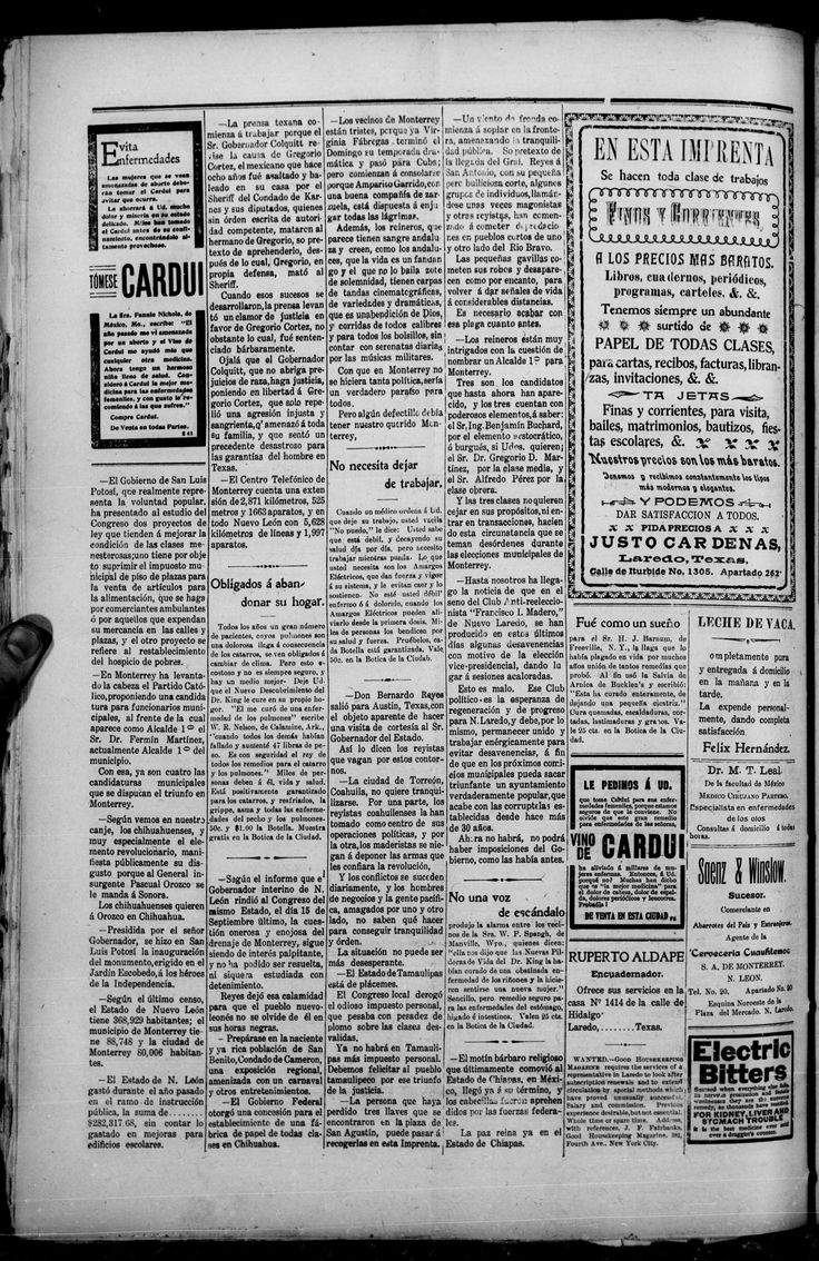 datos interesantes de Monterrey , en un periódico de Laredo