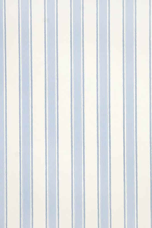 Gazebo Stripe Wallpaper Striped wallpaper on cream with blue stripe.