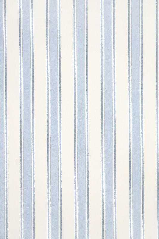 Gazebo Stripe Wallpaper Striped wallpaper on cream with blue stripe.