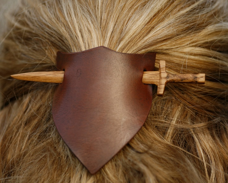 Sword and shield Hair or Shawl pin or stick  - Hand carved reclaimed wood with leather. £9.50, via Etsy.