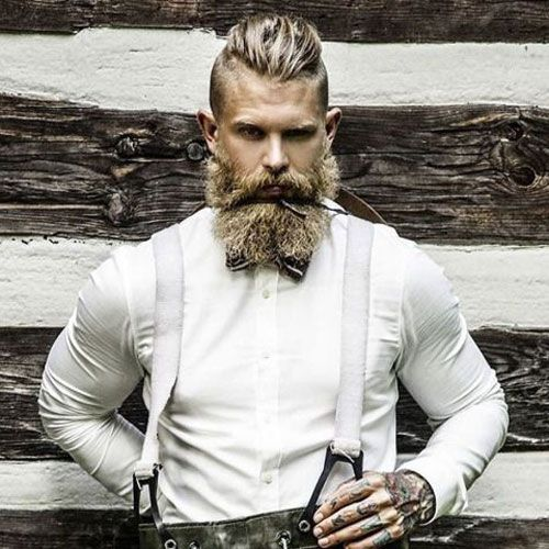 Thick Full Beard with Slicked Back Hair