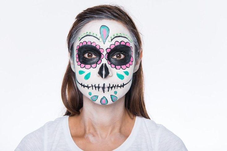 Mexikanische Totenmaske, Halloween make-up, Beauty-DIY Sugar Scull schminken mit Step by Step-Anleitung #Makeupsteps