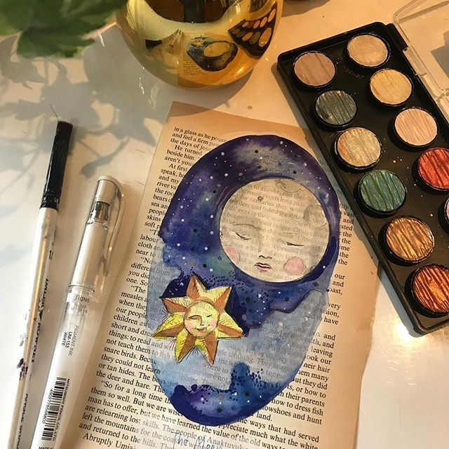 Fed up of moonfaces yet? Lots of full moons. Orignal for sale. DM if interested  #moon #moonlight #nightsky #sunandmoon #starlight #starsandmoon #ink #gouache #vintagebookpages #originalart #artonpaper #artforwalls #artforsale