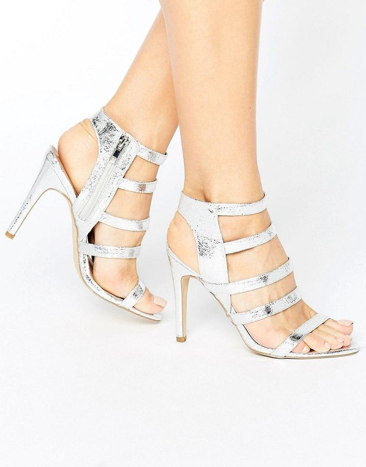 NEW LOOK METALLIC STRAPPY HEELED SANDAL - SILVER. #newlook #