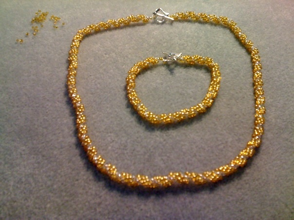 Gold spiral rope necklace and bracelet
