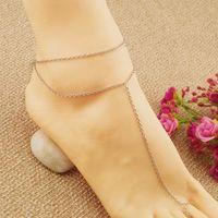 Regalo barato Sexy ankle bracelet dedo del pie Slave Foot joyería oro plata cadena sandalia tobilleras playa para para niñas