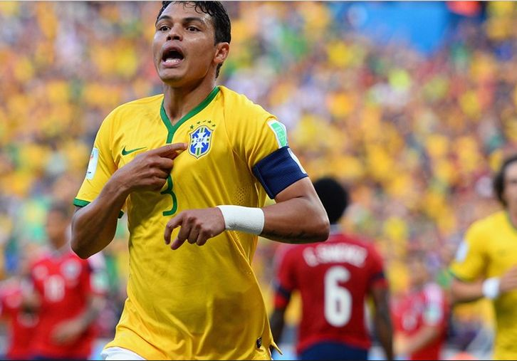 Thiago Silva of Brazil celebrates Friday, 4 July 2014 FORTALEZA, BRAZIL - JULY 04: Thiago Silva of Brazil celebrates scoring his team's first goal during the 2014 FIFA World Cup Brazil Quarter Final match between Brazil and Colombia at Castelao on July 4, 2014 in Fortaleza, Brazil.