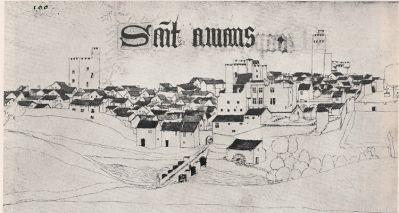 The fortified town of Saint-Amant Tallende with its three castles, Chateau de Murol, Chateau de la Barge, and Chateau de la Tour Fondue.
