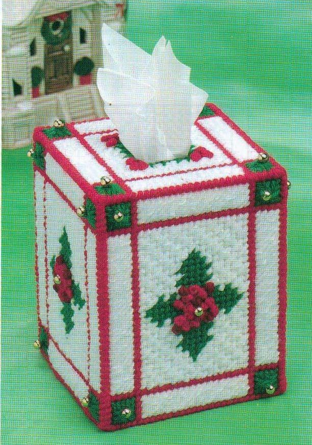 Christmas holly tissue box cover plastic canvas pattern for Tissue box cover craft