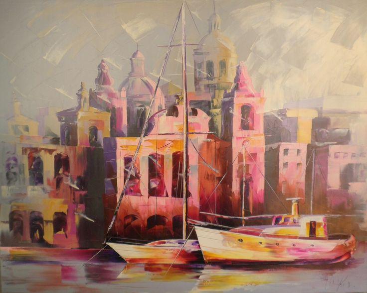 SOLD Birgu | Micko |  125cm by 100cm |  Acrylic impasto gel on Canvas | http://www.christinexart.com/artist/micko