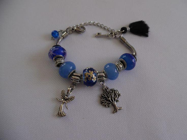 Bracelet en acier inoxydable charm's bleu roi, perles en verre style pandora. : Bracelet par crea-039-martine