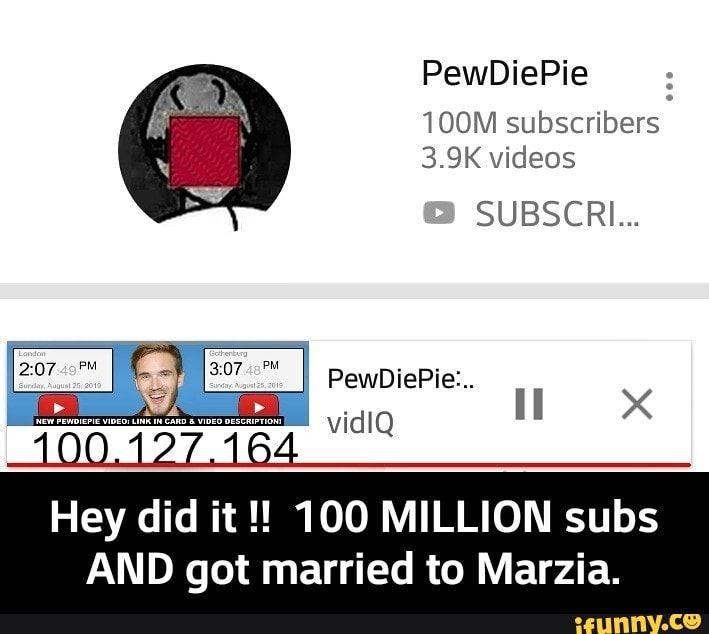 Hey Did It 100 Million Subs And Got Married To Marzia Ifunny Memes Funny Games Got Married