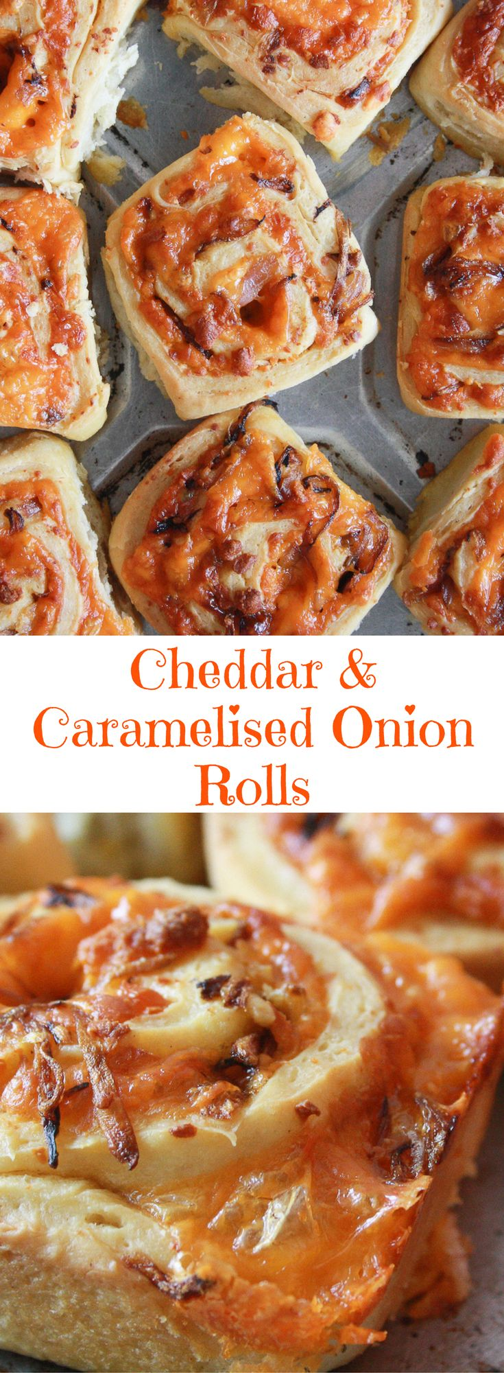 Soft and fluffy, eggless, savoury rolls filled with orange cheddar and caramelised onions!