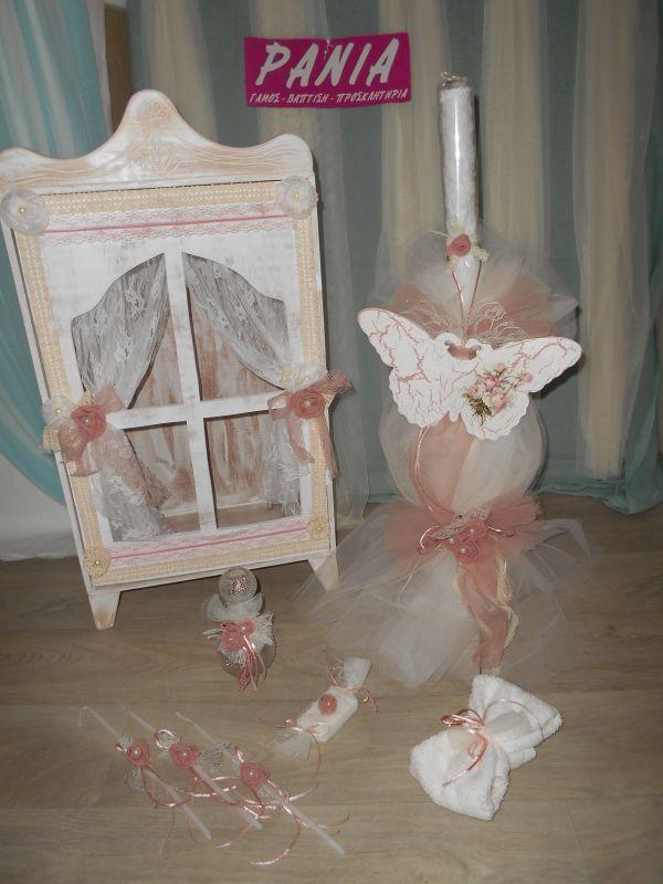 Ξύλινη ντουλάπα ρομαντική και λαμπάδα για βάπτιση