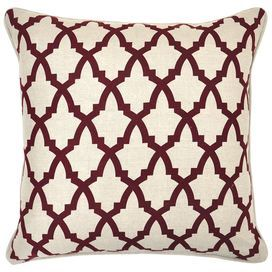 "Add a pop of eye-catching style to your living room sofa or reading nook arm chair with this chic linen pillow, showcasing a quatrefoil-inspired trellis motif and feather-down fill.  Product: PillowConstruction Material: Linen cover and feather down fillColor: Beige and burgundy  Features: Insert includedQuatrefoil-inspired trellis motif  Dimensions: 22"" x 22"""