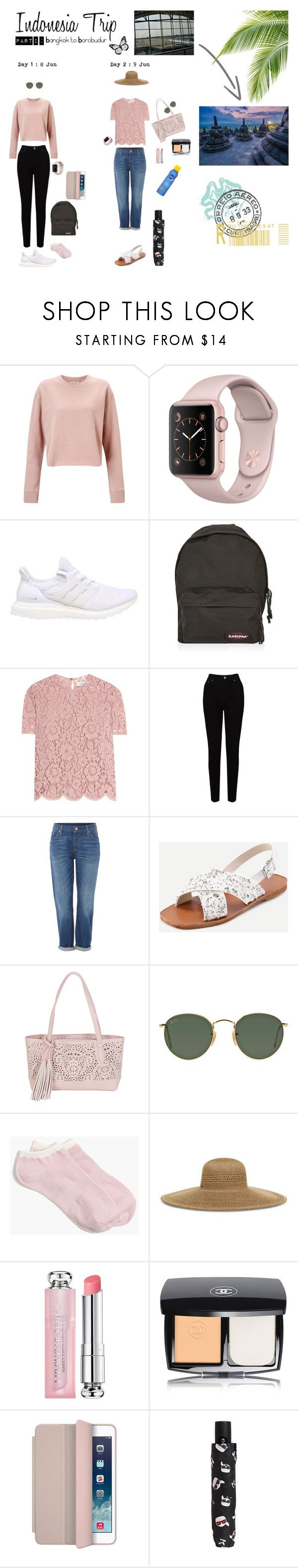 """Indonesia Trip Outfit : Part I (Bangkok to Borobudur)"" by palita-chanmaroeng on Polyvore featuring Miss Selfridge, adidas, Eastpak, Valentino, EAST, Levi's, BUCO, Ray-Ban, J.Crew and Nine West"