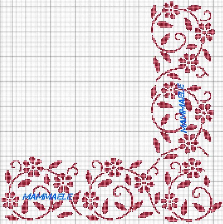 Cross stitch pattern, red flower border.