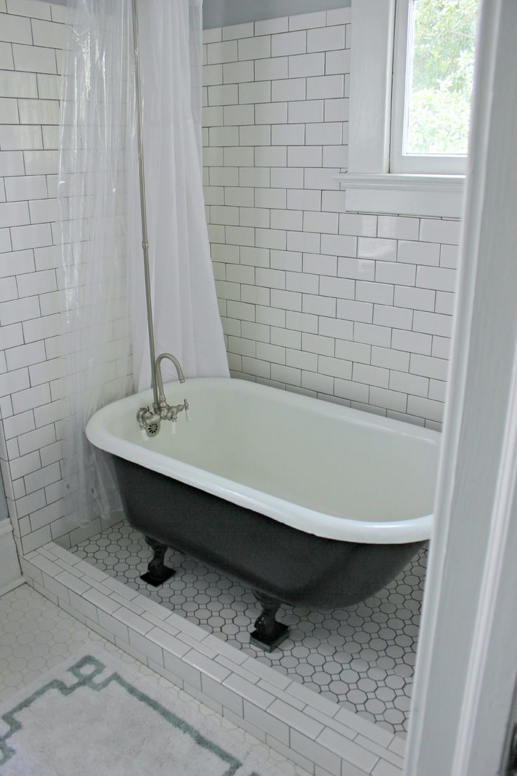 Clawfoot tub rain shower - Transparent Plastic Shower Curtain Which Combined With Subway Tile Ceramic Glass Wall As Well