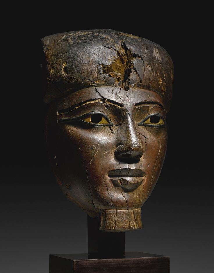 A Large Egyptian Wood Mummy Mask, 25th/early 26th Dynasty, circa 750-600 B.C. | lot | Sotheby's: