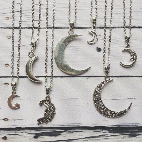 Mond Halskette / Silver Moon Halskette, Moon Halskette Silber, Mond-Schmuck, Moon Schmuck, Mondphasen, Mond Choker, Halbmond-Halskette