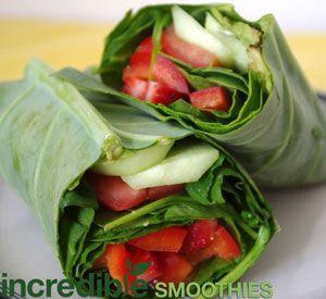 Raw Vegan Strawberry Collard Wraps Recipe via Incredible Smoothies (Sub any other fruit).
