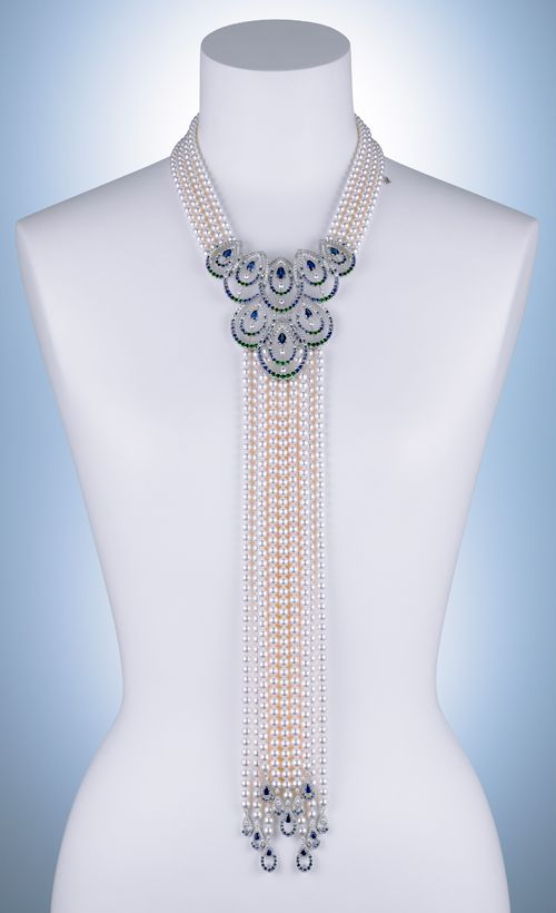 More delicious inspirations from Mikimoto - these peacock feathers are made from diamonds, sapphires, green garnets, aquamarine, tanzanite and cultured pearls