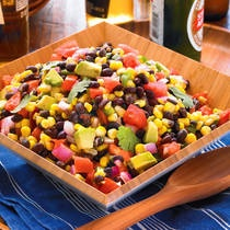 Black Bean Salad. I used lemon juice and balsamic vinegar because that's what I had. Came out great. Used it as side dish with tamales first night and used the rest on Taco Night in tacos. Makes A LOT. Halve the recipe if you're not feeding a bunch because avocados won't last more than two nights!