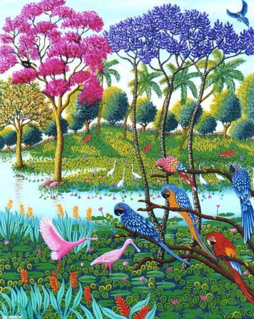 """VISITANDO AS ARARAS - © 2008 """"DE MARCHI"""" (NAIVE ART) DE MARCHI"""