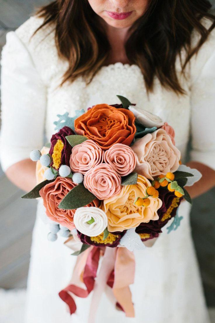 An everlasting felt flower bouquet for an everlasting love. #etsyweddings
