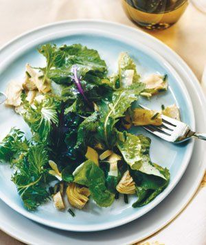Greens with quick artichoke vinaigrette - perfect for summer and white wine