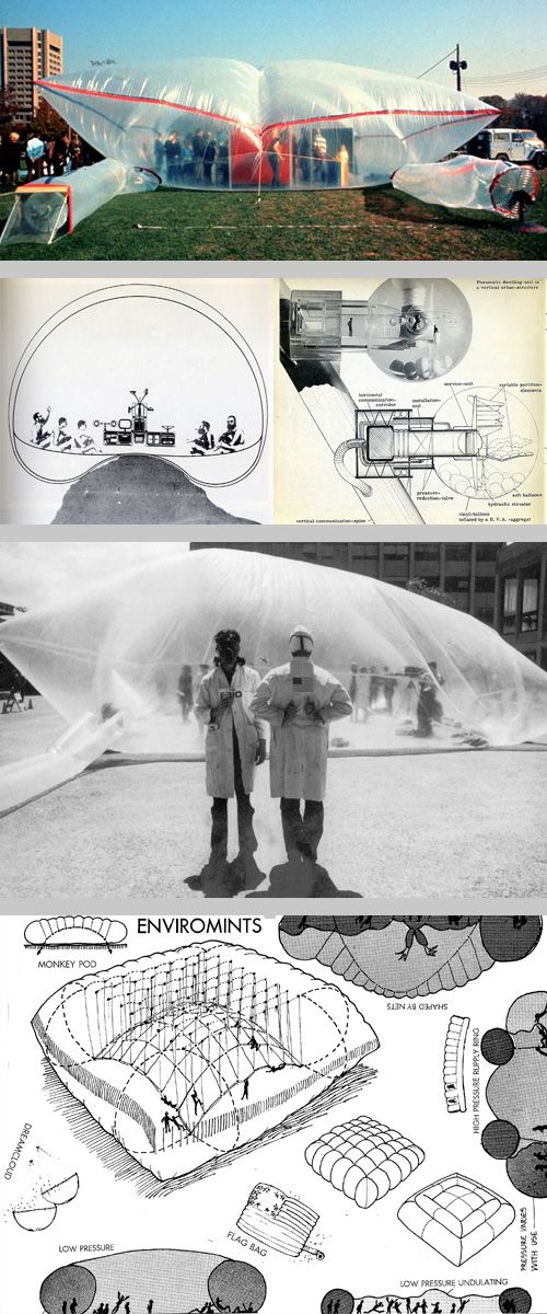 historical bubbletecture, top to bottom: 1960's inflatable by Jersey Devil (source); L: The Environment Bubble, 1965 by Reyner Banham & Francois Dallegret (source) R: Pneumakosm, a pneumatic dwelling unit, 1967 by HAUS-RUCKER-CO (source); Clean Air Pod,1970 by Ant Farm (source); page from Ant Farm's Inflatocookbook