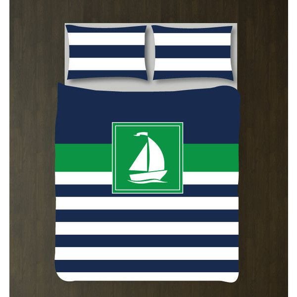 Nautical Duvet Cover w/shams-sailboat-custom Bedding Set-Navy Grey and... ($117) ❤ liked on Polyvore featuring home, bed & bath, bedding, duvet covers, home & living, silver, twin xl duvet, king size bedding ensembles, king bedding sets and king bed sets