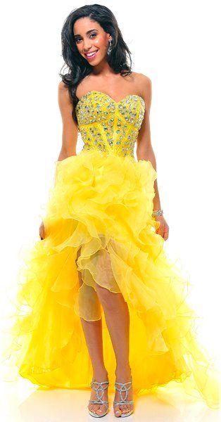 Jeweled Corsette Strapless Long Yellow Dress Organza Slit $297.99